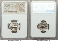 CALABRIA. Tarentum. Ca. 380-334 BC. AR stater or didrachm (22mm, 7.88 gm, 1h). NGC Choice VF 5/5 - 3/5, brushed. Ephebos, naked but for helmet, carryi...
