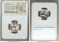 CALABRIA. Tarentum. Ca. 302-281 BC. AR stater or didrachm (21mm, 7.89 gm, 6h). NGC AU 4/5 - 3/5. Crowning youth on horseback right; ΣA behind, ΦIΛI/AP...