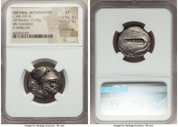 LUCANIA. Metapontum. Ca. 340-330 BC. AR distater (25mm, 15.63 gm, 3h). NGC XF 4/5 - 2/5, smoothing. Bearded head of Leucippus to right, wearing a Cori...