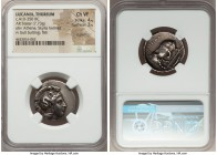 LUCANIA. Thurium. Ca. 410-350 BC. AR stater (24mm, 7.73 gm, 4h). NGC Choice VF 4/5 - 3/5, lt. graffito. Head of Athena right, wearing crested Attic he...