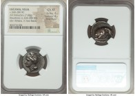 LUCANIA. Velia. Ca. 340-280 BC. AR didrachm or nomos (21mm, 7.68 gm, 6h). NGC Choice XF 4/5 - 4/5, Fine Style. Cleudorus, ca. 334-300 BC. Head of Athe...