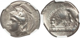 LUCANIA. Velia. Ca. 340-300 BC. AR didrachm or nomos (22mm, 7.44 gm, 11h). NGC XF 4/5 - 4/5. Cleudorus, ca. 334-300 BC. Helmeted head of Athena left, ...