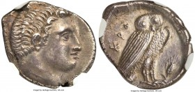 BRUTTIUM. Croton. Ca. 300-250 BC. AR octobol or drachm (16mm, 2.77 gm, 4h). NGC Choice AU 5/5 - 4/5. Bare head of river god Aisaros? right / KPO, owl ...