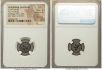 ZEUGITANA. Carthage. Time of Hannibal Ca. 237-209 BC. AE (14mm, 1.94 gm, 12h). NGC XF 5/5 - 3/5, smoothing. Punic Wars issue. ca. 221-218 BC. Wreathed...