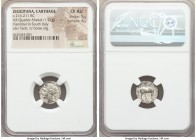 ZEUGITANA. Carthage. Second Punic War. Ca. 216-211 BC. AR quarter shekel (14mm, 1.91 gm, 12h). NGC Choice AU 5/5 - 4/5. Punic mint in Bruttium. Ca. 21...