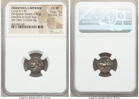 ZEUGITANA. Carthage. Hannibal in South Italy. Ca. 216-211 BC. AR quarter shekel (16mm, 1.91 gm, 12h). NGC Choice XF 5/5 - 3/5. Campanian mint under Ha...