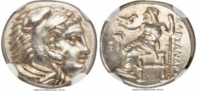 MACEDONIAN KINGDOM. Alexander III the Great (336-323 BC). AR drachm (16mm, 4.29 gm, 12h). NGC Choice MS 5/5 - 5/5. Early posthumous issue, Sardes, ca....