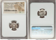 MACEDONIAN KINGDOM. Perseus (179-168 BC). AR drachm (16mm, 2.59 gm, 6h). NGC MS 5/5 - 4/5. Pseudo-Rhodian, Greek mercenaries issue, ca. 175-170 BC. Er...