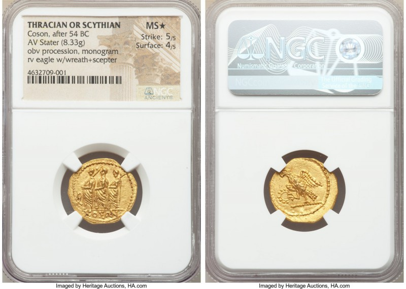 THRACIAN DYNASTS. Coson (ca. after 54 BC). AV stater (21mm, 8.33 gm, 11h). NGC M...