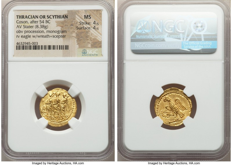 THRACIAN DYNASTS. Coson (ca. after 54 BC). AV stater (20mm, 8.38 gm, 11h). NGC M...