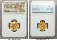 THRACIAN DYNASTS. Coson (ca. after 54 BC). AV stater (20mm, 8.38 gm, 11h). NGC MS 4/5 - 4/5. Ca. 44-42 BC. Roman consul (L. Junius Brutus) walking lef...