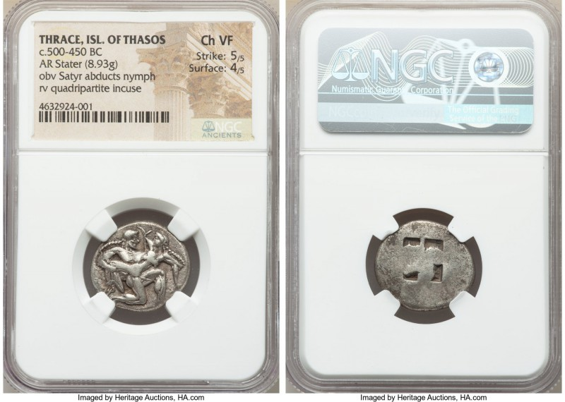THRACIAN ISLANDS. Thasos. Ca. 525-450 BC. AR stater (22mm, 8.93 gm). NGC Choice ...