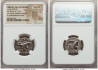 THRACIAN ISLANDS. Thasos. Ca. 525-450 BC. AR stater (21mm, 8.71 gm). NGC Choice VF 5/5 - 3/5. Nude ithyphallic satyr running right, carrying strugglin...