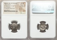 THRACIAN ISLANDS. Thasos. Ca. 400-335 BC. AR didrachm (17mm, 7.14 gm, 9h). NGC Choice VF 4/5 - 4/5. Head of Dionysus left / Heracles kneeling right sh...
