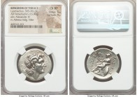 THRACIAN KINGDOM. Lysimachus (305-281 BC). AR tetradrachm (29mm, 16.92 gm, 12h). NGC Choice XF 5/5 - 4/5. Pella, 286/5-282/1 BC. Head of the deified A...
