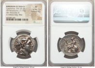 THRACIAN KINGDOM. Lysimachus (305-281 BC). AR tetradrachm (32mm, 17.19 gm, 12h). NGC XF 5/5 - 4/5. Ephesus, ca. 297/6-282/1 BC. Head of deified Alexan...