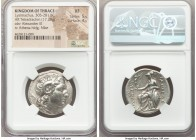THRACIAN KINGDOM. Lysimachus (305-281 BC). AR tetradrachm (27mm, 17.20 gm, 12h). NGC XF 5/5 - 4/5. Pella, 286/5-282/1 BC. Head of the deified Alexande...