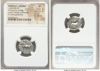 THESSALY. Larissa. Ca. 460-400 BC. AR drachm (19mm, 5.98 gm, 6h). NGC XF 4/5 - 4/5, die shift. Youth (Thessalos), nude save for chlamys, standing left...