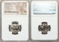 ACARNANIA. Leucas. Ca. 435-360 BC. AR stater (21mm, 8.40 gm, 9h). NGC VF 3/5 - 3/5. Pegasus flying right, Λ below / Helmeted head of Athena right; to ...