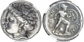 LOCRIS. Locris Opuntia. Ca. 380-338 BC. AR stater (23mm, 12.08 gm, 4h). NGC Choice VF 3/5 - 3/5, die shift. Head of Demeter left, hair wreath in grain...