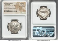 ATTICA. Athens. Ca. 465-455 BC. AR tetradrachm (26mm, 17.18 gm, 8h). NGC Choice XF 5/5 - 2/5, test cut. Head of Athena right, wearing crested Attic he...