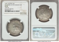 Salzburg. Maximilian Gandolph Counterstamped 2 Mark 1681 VF30 NGC, KM-Unl. (with this host), cf. KM243 (for host). Displaying oval 1681-dated Arms of ...