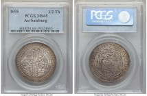 Salzburg. Johann Ernst 1/2 Taler 1695 MS65 PCGS, KM253. Razor-sharp and phenomenally mint, the whole of the design laid out from even the most casual ...