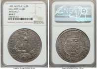Leopold I Taler 1632 MS62 NGC, Hall mint, KM629.2, Dav-3338B. Variety with BVRGVND rather than BVRGVNDI spelling. Sublimely attractive and fully lustr...