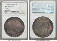 Karl (Charles) VI Taler 1716 AU58 NGC, Hall mint, KM1570, Dav-1051. Beautifully toned and noticeably original on the whole, and very nearly Mint State...