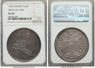 Karl (Charles) VI Taler 1740 AU58 NGC, Graz mint, KM1610.4, Dav-1043. A piece that exudes a stunning relief and high level of originality, the fields ...