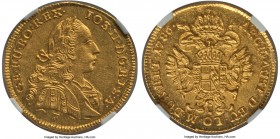 Joseph II gold Ducat 1786-F MS63 NGC, Hall mint, KM1874. Pulsating with a blazing glow of golden luster, executed in an expertly high level of detail,...