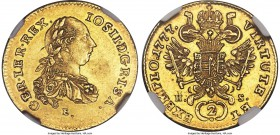 Joseph II gold 2 Ducat 1777 E//H-S MS61 NGC, Karlsburg mint (in Transylvania), KM1869 (under Austria). Reverse die a little worn, but overall quite pl...