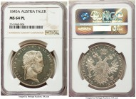 Ferdinand I Taler 1845-A MS64 Prooflike,  Vienna mint, KM2240. Presently the finest certified example from NGC and the only specimen graced with the p...