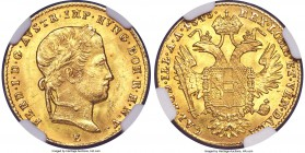 Ferdinand I gold Ducat 1848-E MS64 NGC, Karlsburg mint (in Transylvania), KM2262 (under Austria). Tied for the finest certified at NGC, effortlessly s...