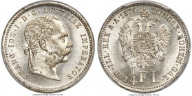 Franz Joseph I 1/4 Florin 1874 MS65 PCGS, KM2217. A true Gem, and as eye appealing as one would expect.   HID99912102018