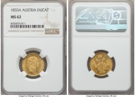 Franz Joseph I gold Ducat 1855-A MS62 NGC, Vienna mint, KM2263. A well-struck piece with flashy fields and light handling consistent with the grade.  ...