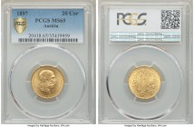 Franz Joseph I gold 20 Corona 1897 MS65 PCGS, KM2806. Absolutely premier quality for the type, slightly matte in the fields, with no other examples ev...