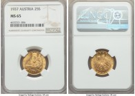 Republic gold 25 Schilling 1937 MS65 NGC, KM2856. Mintage: 7,660. A sterling representative of this scarcer type.   HID99912102018