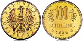Republic gold Prooflike 100 Schilling 1926 PL64 PCGS, KM2842. Popular type in near-Gem condition.   HID99912102018