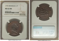 British Colony. George III Penny 1793 MS62 Brown NGC, KM5. A popular piece featuring an emblematic maritime theme, the residual brightness in the fiel...