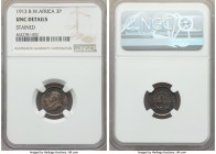 British Colony. George V Three-piece  Partial Set 1913 NGC Certified, 1) 3 Pence - UNC Details (Stained), KM10 2) 6 Pence - UNC Details (Stained), KM1...