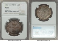British Colony. George IV 1/2 Dollar 1822 AU55 NGC, KM4. Visually stunning and striking bright for a notoriously dark type, a soft peach color develop...