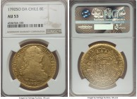 Charles IV gold 8 Escudos 1792 So-DA AU53 NGC, Santiago mint, KM54. Notably well-executed and preserved for a usually widely circulated issue, excepti...