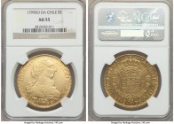 Charles IV gold 8 Escudos 1799 So-DA AU55 NGC, Santiago mint, KM54. A very presentable representation of the type with little evident wear and a stron...