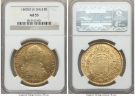Charles IV gold 8 Escudos 1800 So-JA AU55 NGC, Santiago mint, KM54. Subtly reddened at the edges with brilliant flashy luster.   HID99912102018
