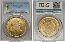 Charles IV gold 8 Escudos 1801 So-AJ AU55 PCGS, Santiago mint, KM54. A comparatively high designation for the type, with a reverse seemingly deserving...