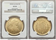 Charles IV gold 8 Escudos 1802 So-JJ AU58 NGC, Santiago mint, KM54. Glassy at the peripheries for the admitted minor signs of handling, the legends de...