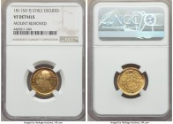 Ferdinand VII gold Escudo 1811 So-FJ VF Details (Mount Removed) NGC, Santiago mint, KM76. Transitional type featuring the bust of Charles IV but issue...