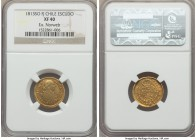 Ferdinand VII gold Escudo 1813 So-FJ XF40 NGC, Santiago mint, KM76. Wholesomely presented with minimal rub on the highpoints and no major handling, an...