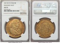 Ferdinand VII gold 8 Escudos 1811 So-FJ AU55 NGC, Santiago mint, KM72. Imagined bust. A light golden-orange in appearance, this final year for the typ...